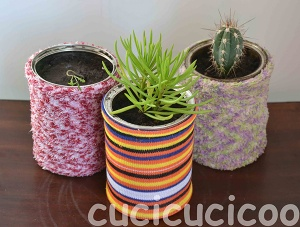 Flower pots from upcycled cans and socks | www.cucicucicoo.com
