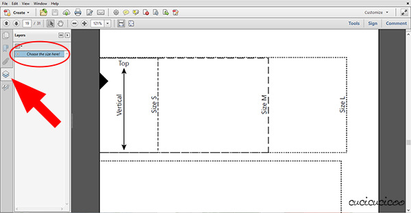How to hide sizes you don't need in PDF patterns: no more confusion with extra unnecessary lines! www.cucicucicoo.com