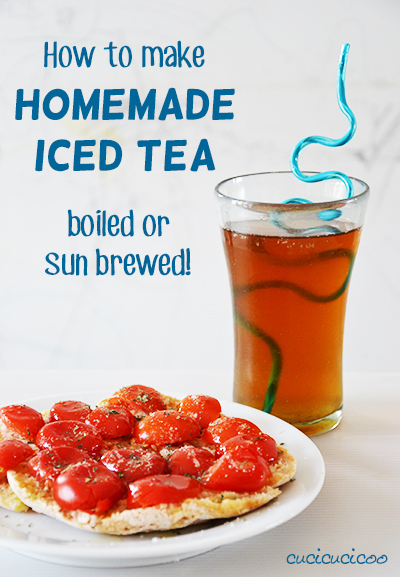 This ice tea recipe is so good! I love sun brewing it! Learn how to make homemade iced tea, the best drink on a hot summer day! A recipe for all natural sun brewed or boiled tea.