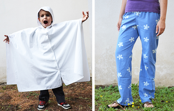 Sew a ghost costume or pajama pants from a sheet! www.cucicucicoo.com