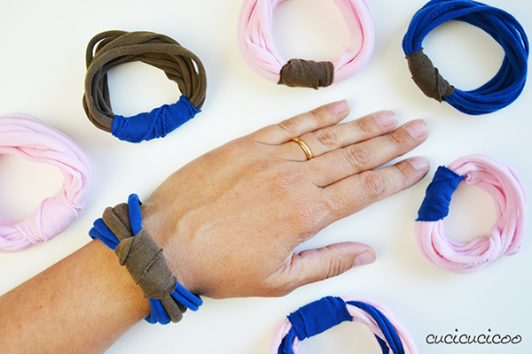 Bracelets made from upcycled t-shirts! www.cucicucicoo.com