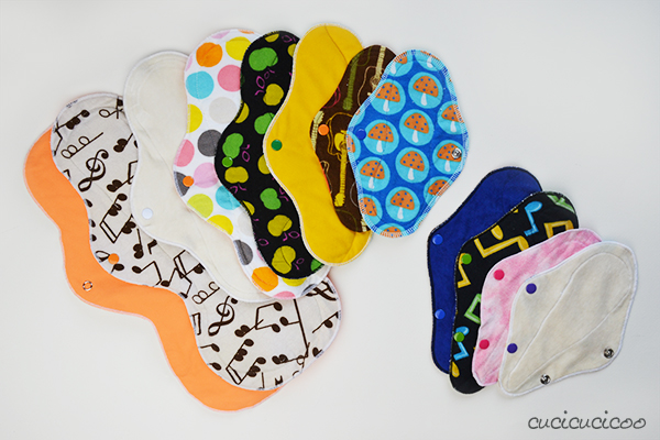 Cloth Menstrual Pads for a natural approach to your period. A PDF sewing pattern by Cucicucicoo Patterns
