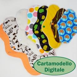 Cartamodello Cucicucicoo per gli assorbenti lavabili: modello professionale in italiano o inglese. Livello principiante con 16 varianti e passi illustrati.