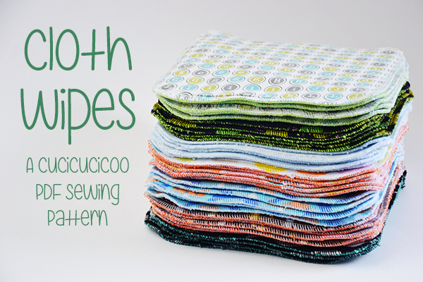 Cloth Wipes for baby changing, wiping hands and general hygiene. A PDF sewing pattern by Cucicucicoo Patterns