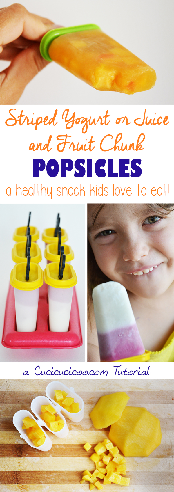 Jazz up your healthy homemade summer treats and make striped popsicles with yogurt or juice, or textured fresh fruit popsicles! Be creative and have fun!