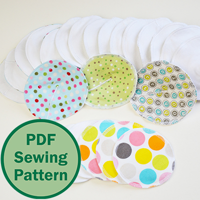 Cloth Nursing Pads for a natural approach to breastfeeding. A PDF sewing pattern (including instructions for a wash bag) by Cucicucicoo Patterns