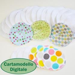 Cartamodello digitale per coppette assorbilatte lavabili + un sacchetto per il lavaggio. Cartamodello digitale di Cucicucicoo Patterns