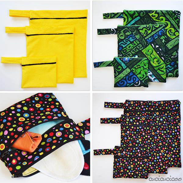 Trasporta i tuoi prodotti lavabili con stile o porta il materiale di nuoto in piscina o al mare! Cartamodello Cucicucicoo di Wet Bags: 3 stili, ciascuno a 3 taglie, e laccetto e fondo rettangolare opzionali! www.cucicucicoo.com