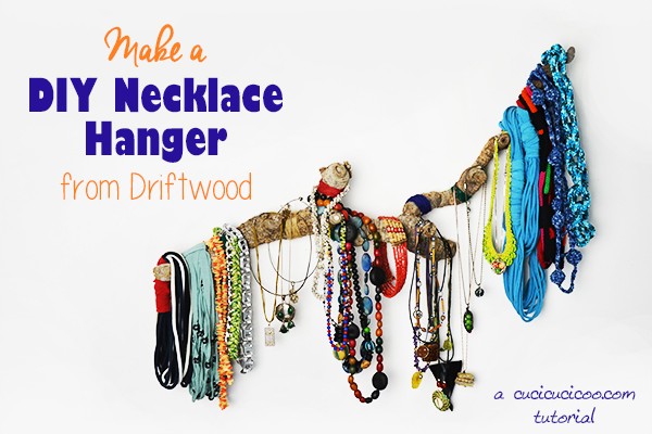 Create a DIY necklace hanger from driftwood or a giant cane root. No sewing or manual skills needed! A perfect way to organize your jewelry in a beautiful way! #jewelrydisplay #necklacehanger
