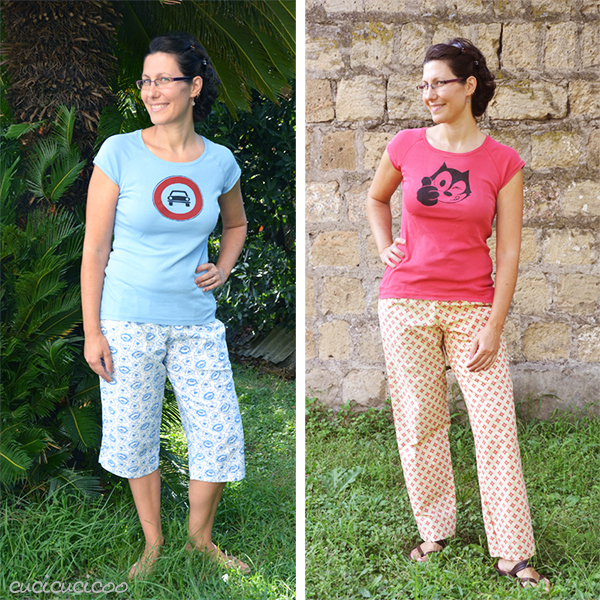 PDF sewing pattern: Evening Primrose Pajama Pants for women by Cucicucicoo Patterns - 3/4 and pants lengths - www.cucicucicoo.com