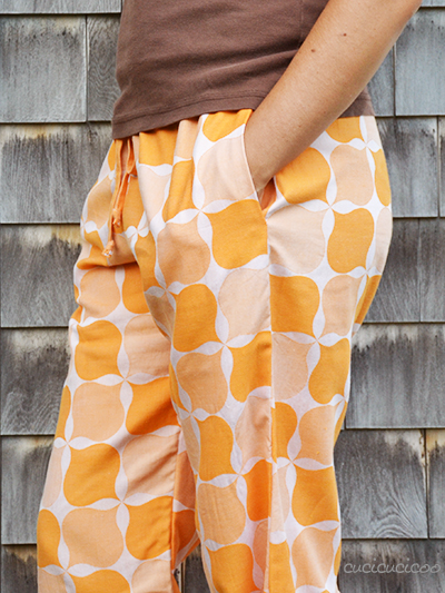 PDF sewing pattern: Evening Primrose Pajama Pants for women by Cucicucicoo Patterns - pants with pockets and drawstring - www.cucicucicoo.com