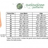 PDF sewing pattern: Oenothera Biennis Pajama Pants for women by Cucicucicoo Patterns - size chart - www.cucicucicoo.com