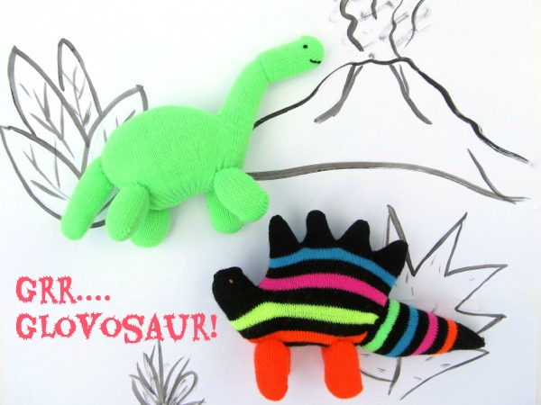 Jumping with Jurassic Joy! Upcycled Glovosaurs. Glove animal tutorial (dinosaur softies) by Sweater Doll for www.cucicucicoo.com