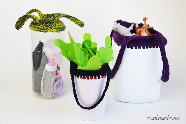 Crochet carry containers for kids from upcycled plastic bottles. www.cucicucicoo.com