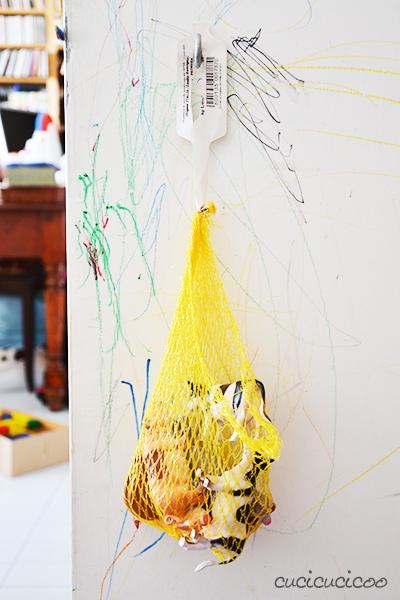 Ispirazione per borse riciclose per bambini da retine di recupero. www.cucicucicoo.com