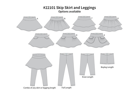 The Skip Skirt for girls, pattern#22101 by Sew By Pattern Pieces: 10 sizes, 7 skirt variations, 3 leggings lengths, with the possibility to attach the leggings to the skirt. A sewing pattern review by www.cucicucicoo.com
