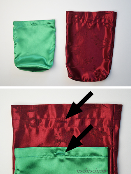 Sew simple reusable gift bags with drawstrings! A tutorial by www.cucicucicoo.com