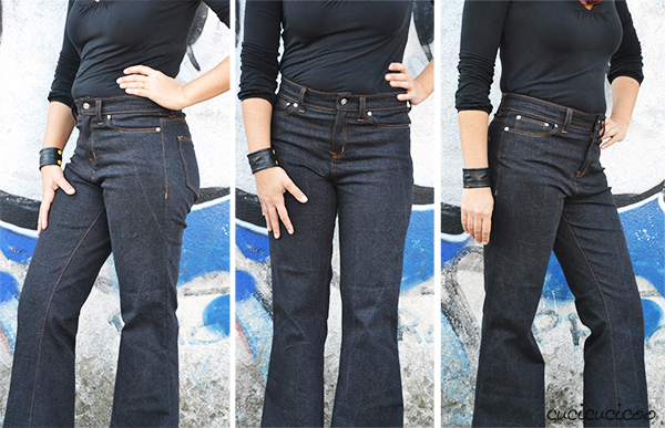 The Birkin Flares jeans pattern by Baste + Gather: high waist, slim fit with flared legs. A review by www.cucicucicoo.com