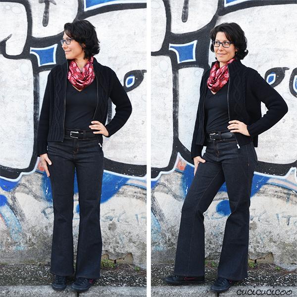 Il cartamodello migliore in assoluto per jeans: Birkin Flares di Baste + Gather. Vita alta e gambe a campana. Una recensione di www.cucicucicoo.com