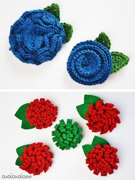 Three no-sew DIY flower brooches from rolled felt and crocheted yarn | www.cucicucicoo.com