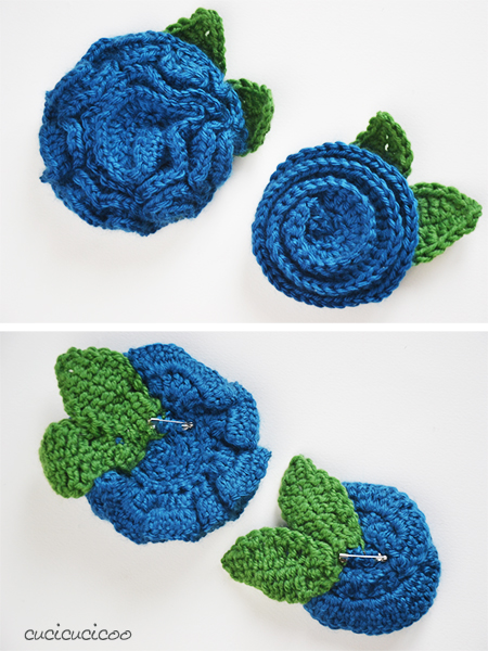 DIY crocheted flower brooches | www.cucicucicoo.com