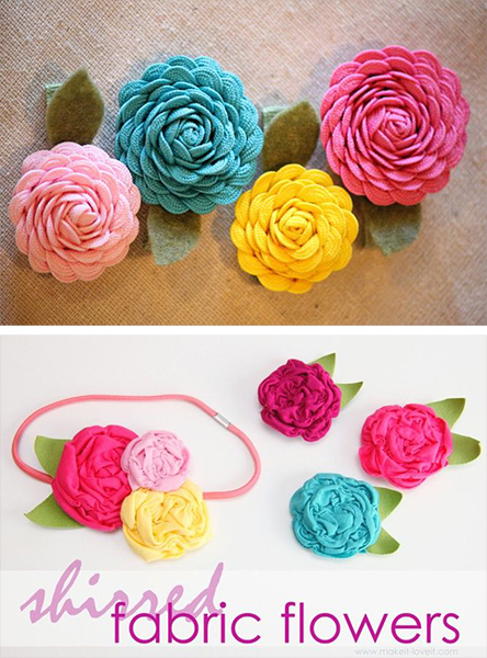 Colorful fabric flowers