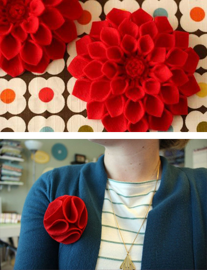 DIY felt flower brooches