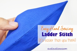 Hand sewing doesn't have to be hard! Learn how to ladder stitch (or invisible stitch), a technique essential to closing up openings easily without any visible threads! Photo + video tutorial! #handsewing #sewbyhand