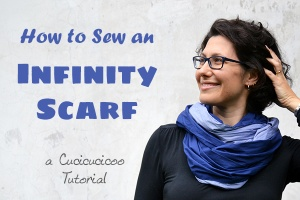 How to sew an infinity scarf in one or two fabrics: a Cucicucicoo Learn to Machine Sew tutorial | www.cucicucicoo.com