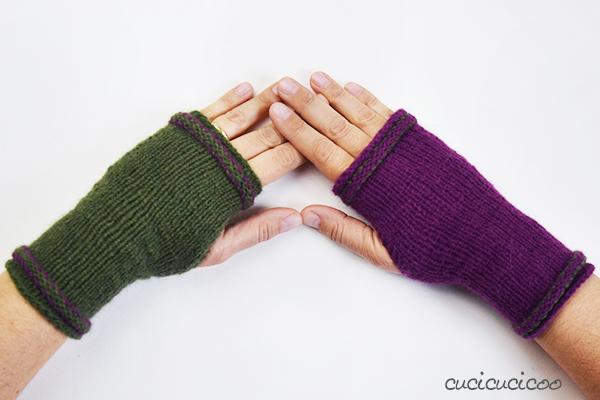 Tepore scaldamani a maglia: uno schema semplice con aperture per il police, lavorati in tondo sul gioco di ferri. Una recensione di www.cucicucicoo.com