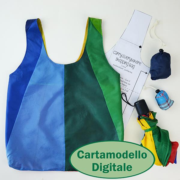 Cartamodello GRATIS Borsa Shopper Portovunque! Recupera il tessuto da un ombrello rotto o usa un tessuto leggero per questa borsa shopper che si infila dentro un sacchettino compatto attaccato! www.cucicucicoo.com