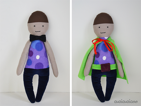 The Perfectly Imperfect Play Doll: a fabric doll pattern review by www.cucicucicoo.com