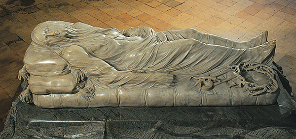 The importance of fabric drape as shown in classical sculpture (The Veiled Christ). A sewing lesson in the free Learn to Machine Sew course for beginners on www.cucicucicoo.com