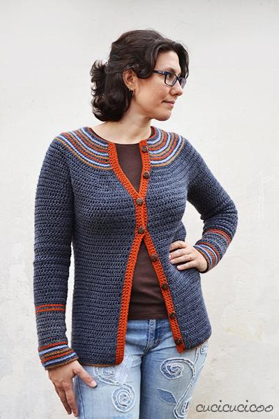 Saturn Sweater: un cardigan all'uncinetto semplice e veloce da lavorare con anelli colorati ricamati su una base scura. Una recensione dello schema | www.cucicucicoo.com