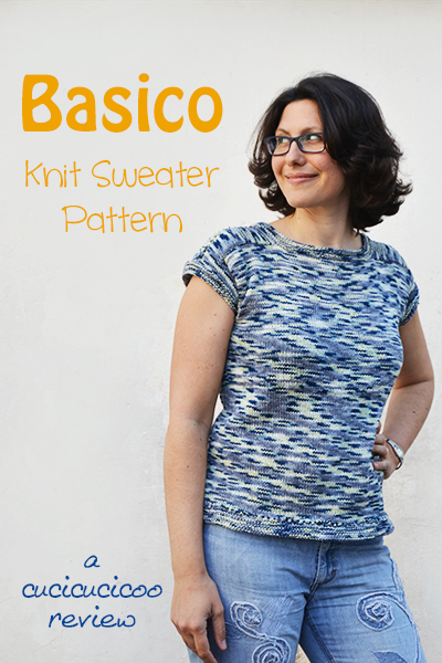 Basico: a knitting pattern for summer sweater. An easily personalizable knitting recipe for a pullover sweater with saddle shoulders. Full review on www.cucicucicoo.com