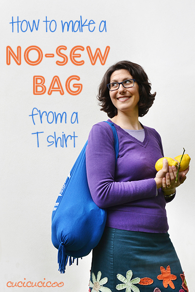 Transform that T-shirt you never wear into something useful! This no-sew tutorial shows how to make a bag from a T shirt. Great upcycling craft for kids! www.cucicucicoo.com