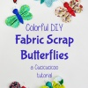 Bring a bit of color and happiness to Spring with a scrap fabric butterfly! Decorate your home or make a pin, headband or mobile with this stash-busting tutorial by www.cucicucicoo.com #scraps #fabricbutterfly
