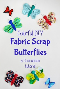DIY scrap fabric butterflies: give Spring a bit of color and happiness using scraps in your stash! www.cucicucicoo.com