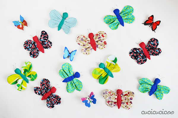Do some spring cleaning and stash busting with this fun scrap fabric butterflies DIY! Download the print-friendly version of the sewing tutorial and pattern! Perfect to hang as they are or incorporate into banners, pins, mobiles and more! #fabricbutterfly #fabricbutterflies