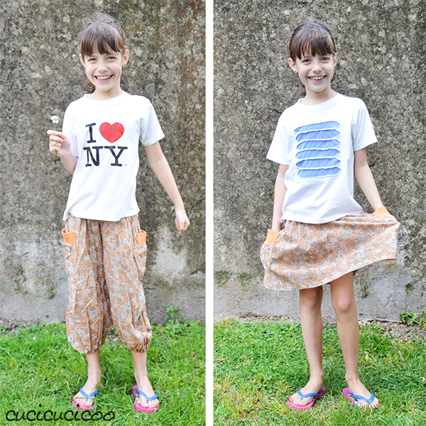 Turn pants into a skirt in just 15 minutes with this easy refashion tutorial by www.cucicucicoo.com!