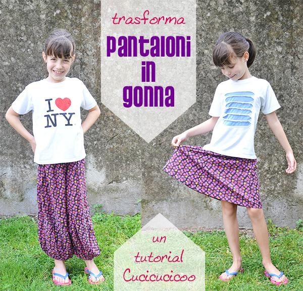 Trasforma dei pantaloni in una gonna in solo 15 minuti con questo refashion tutorial facile di www.cucicucicoo.com!