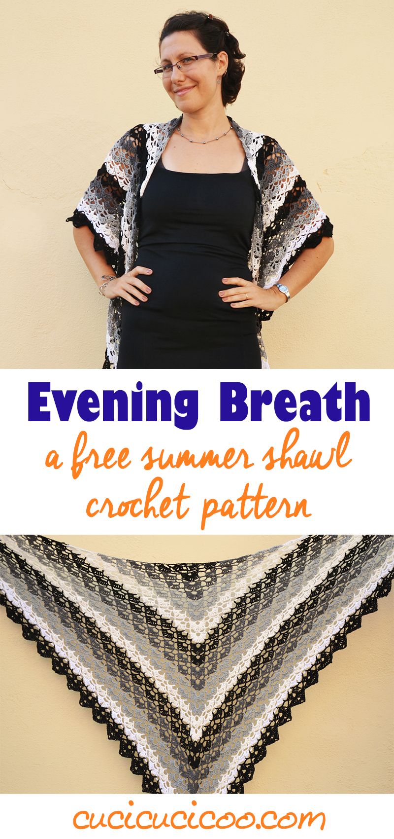 Need a wrap to cover your shoulders with on summer evenings? Try Evening Breath, this summer shawl crochet pattern by DROPS. It can also be used as a scarf in cooler weather. This grey-scale version was created by www.cucicucicoo.com