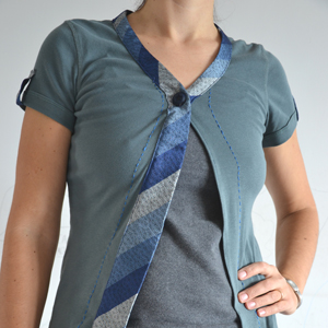 Sew a cool summer cardigan from a T-shirt and a tie! Refashion tutorial on www.cucicucicoo.com