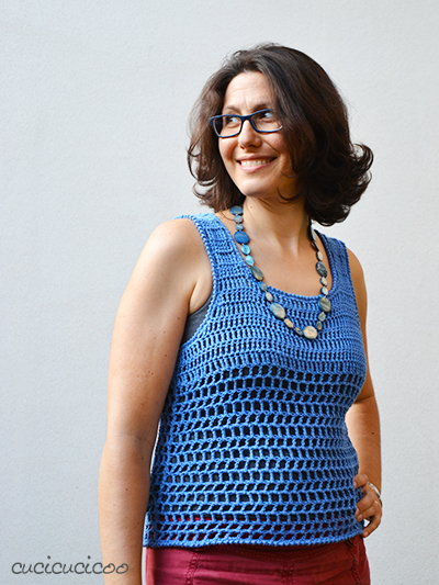 Just Peachy, a free mesh crochet top pattern for summer by Drops Design with some tweaks by www.cucicucicoo.com