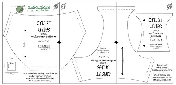 Cartamodello gratuito (anche in italiano) e tutorial per cucire le mutandine da bambina da una maglietta! www.cucicucicoo.com