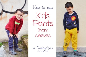 Sew kids' pants from sleeves - a www.cucicucicoo.com tutorial