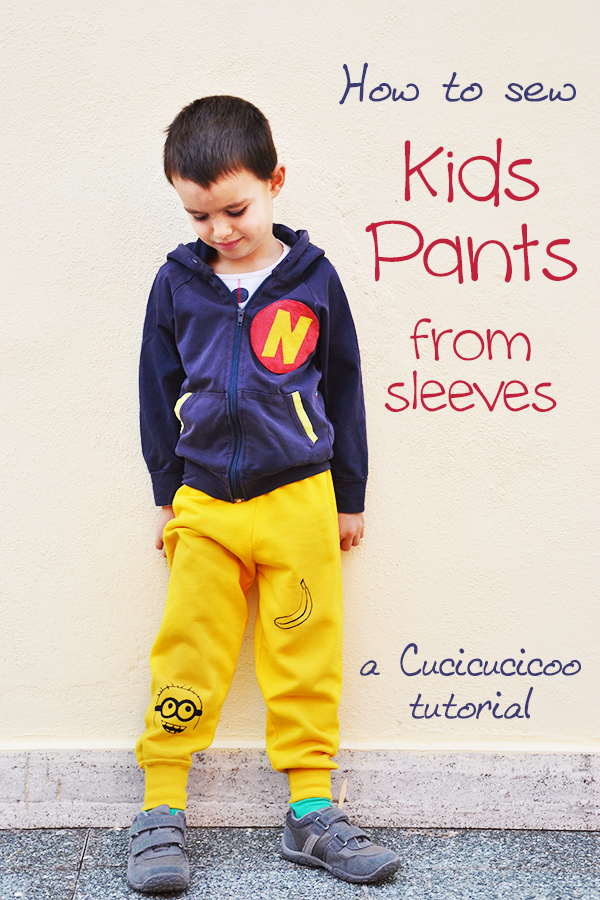 Save time when sewing your children's clothes with this refashion tutorial: Make pants from sleeves for (almost) immediate results! No pattern necessary! #refashion