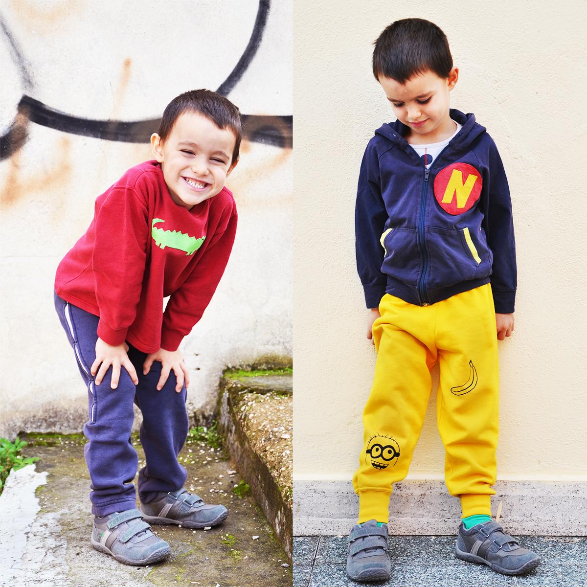 Cucire pantaloni per bambini da felpe (refashion)