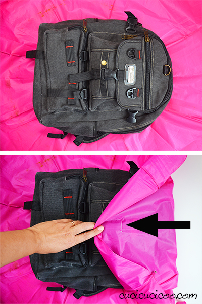888e90baf7 Upcycle umbrellas to protect your backpack during bad weather! These DIY  backpack rain covers are