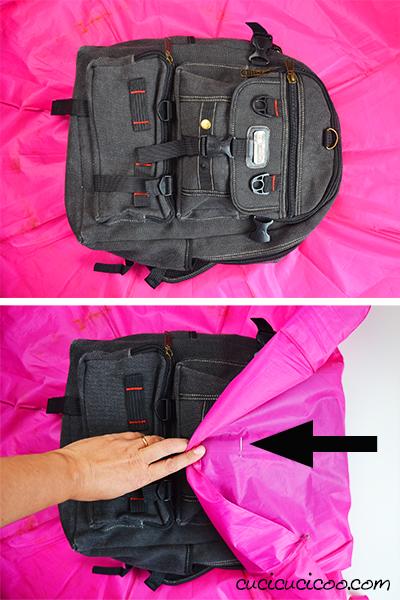 Como reutilizar sombrinhas usadas.   Aprenda a fazer capa de mochila para dias de chuva